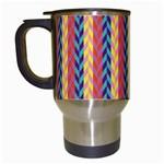Colorful Chevron Retro Pattern Travel Mugs (White)