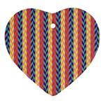 Colorful Chevron Retro Pattern Heart Ornament (2 Sides)