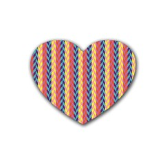 Colorful Chevron Retro Pattern Rubber Coaster (heart)  by DanaeStudio