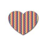 Colorful Chevron Retro Pattern Rubber Coaster (Heart)