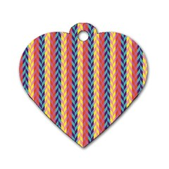 Colorful Chevron Retro Pattern Dog Tag Heart (one Side) by DanaeStudio