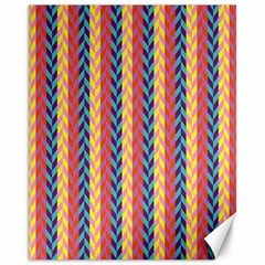 Colorful Chevron Retro Pattern Canvas 11  X 14   by DanaeStudio