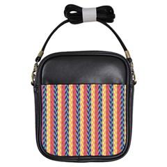 Colorful Chevron Retro Pattern Girls Sling Bags by DanaeStudio