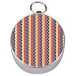 Colorful Chevron Retro Pattern Silver Compasses