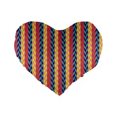 Colorful Chevron Retro Pattern Standard 16  Premium Flano Heart Shape Cushions by DanaeStudio