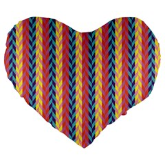 Colorful Chevron Retro Pattern Large 19  Premium Flano Heart Shape Cushions by DanaeStudio