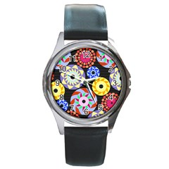 Colorful Retro Circular Pattern Round Metal Watch by DanaeStudio