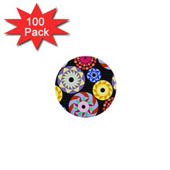 Colorful Retro Circular Pattern 1  Mini Buttons (100 Pack)  by DanaeStudio