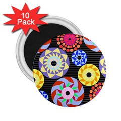 Colorful Retro Circular Pattern 2 25  Magnets (10 Pack)  by DanaeStudio