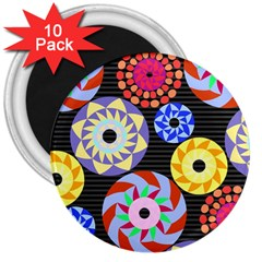 Colorful Retro Circular Pattern 3  Magnets (10 Pack)  by DanaeStudio