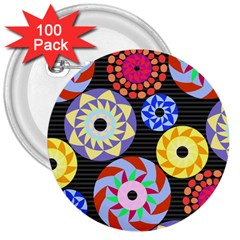 Colorful Retro Circular Pattern 3  Buttons (100 Pack)  by DanaeStudio