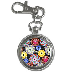 Colorful Retro Circular Pattern Key Chain Watches by DanaeStudio