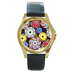 Colorful Retro Circular Pattern Round Gold Metal Watch by DanaeStudio