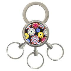 Colorful Retro Circular Pattern 3 Ring Key Chains by DanaeStudio