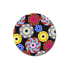 Colorful Retro Circular Pattern Rubber Round Coaster (4 Pack)  by DanaeStudio