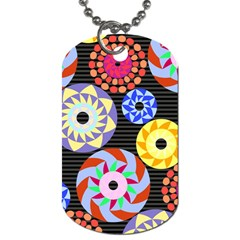 Colorful Retro Circular Pattern Dog Tag (two Sides) by DanaeStudio