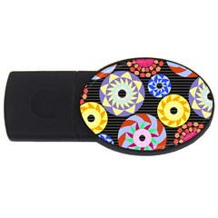 Colorful Retro Circular Pattern Usb Flash Drive Oval (2 Gb)  by DanaeStudio