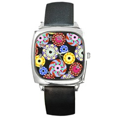 Colorful Retro Circular Pattern Square Metal Watch by DanaeStudio