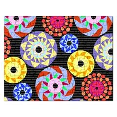 Colorful Retro Circular Pattern Rectangular Jigsaw Puzzl by DanaeStudio