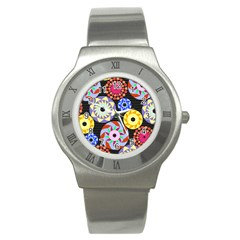 Colorful Retro Circular Pattern Stainless Steel Watch by DanaeStudio