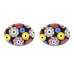 Colorful Retro Circular Pattern Cufflinks (oval) by DanaeStudio