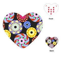 Colorful Retro Circular Pattern Playing Cards (heart)  by DanaeStudio