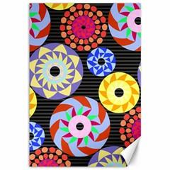 Colorful Retro Circular Pattern Canvas 12  X 18   by DanaeStudio