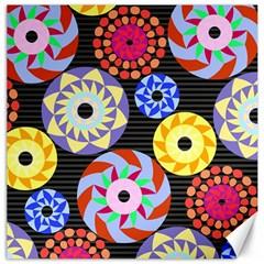 Colorful Retro Circular Pattern Canvas 16  X 16   by DanaeStudio