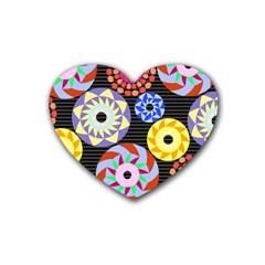 Colorful Retro Circular Pattern Heart Coaster (4 Pack)  by DanaeStudio
