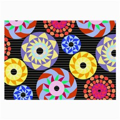 Colorful Retro Circular Pattern Large Glasses Cloth by DanaeStudio