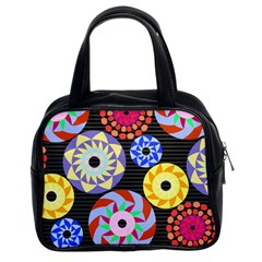 Colorful Retro Circular Pattern Classic Handbags (2 Sides) by DanaeStudio