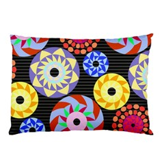 Colorful Retro Circular Pattern Pillow Case by DanaeStudio