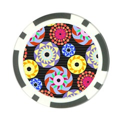Colorful Retro Circular Pattern Poker Chip Card Guards (10 Pack)  by DanaeStudio