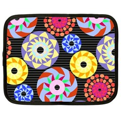 Colorful Retro Circular Pattern Netbook Case (xl)  by DanaeStudio