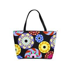 Colorful Retro Circular Pattern Shoulder Handbags by DanaeStudio