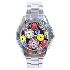 Colorful Retro Circular Pattern Stainless Steel Analogue Watch by DanaeStudio