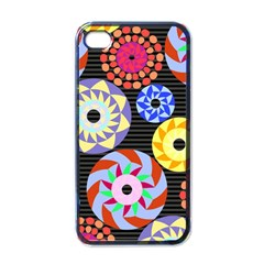 Colorful Retro Circular Pattern Apple Iphone 4 Case (black) by DanaeStudio