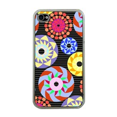 Colorful Retro Circular Pattern Apple Iphone 4 Case (clear) by DanaeStudio