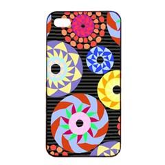 Colorful Retro Circular Pattern Apple Iphone 4/4s Seamless Case (black) by DanaeStudio