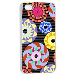 Colorful Retro Circular Pattern Apple Iphone 4/4s Seamless Case (white) by DanaeStudio