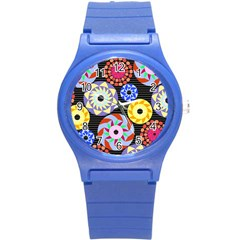 Colorful Retro Circular Pattern Round Plastic Sport Watch (s) by DanaeStudio