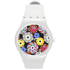Colorful Retro Circular Pattern Round Plastic Sport Watch (m) by DanaeStudio