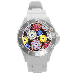 Colorful Retro Circular Pattern Round Plastic Sport Watch (l) by DanaeStudio