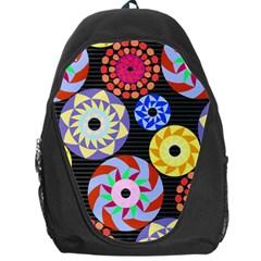 Colorful Retro Circular Pattern Backpack Bag by DanaeStudio