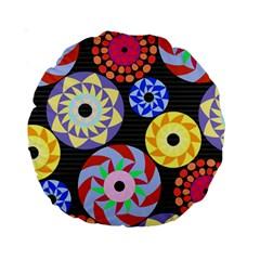 Colorful Retro Circular Pattern Standard 15  Premium Round Cushions by DanaeStudio