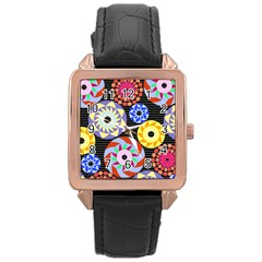 Colorful Retro Circular Pattern Rose Gold Leather Watch  by DanaeStudio