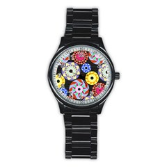 Colorful Retro Circular Pattern Stainless Steel Round Watch by DanaeStudio