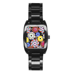Colorful Retro Circular Pattern Stainless Steel Barrel Watch by DanaeStudio