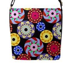 Colorful Retro Circular Pattern Flap Messenger Bag (l)  by DanaeStudio