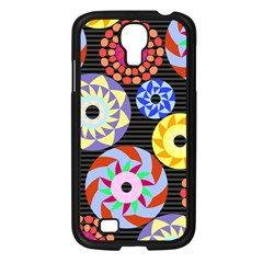 Colorful Retro Circular Pattern Samsung Galaxy S4 I9500/ I9505 Case (black) by DanaeStudio